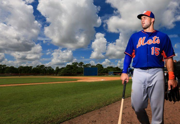 Tim Tebow hit a home run in his first professional at-bat