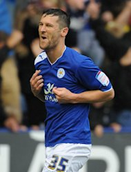 David Nugent celebrates his first goal