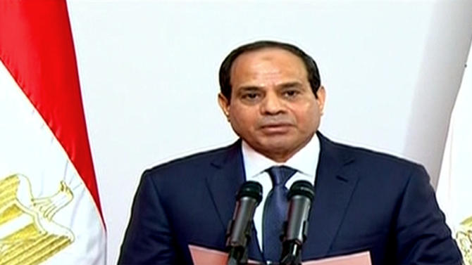 This image made from Egyptian State Television shows, Egyptian President Abdel-Fattah el-Sissi, gives a speech at the Supreme Constitutional Court in Cairo, Egypt, Sunday, June 8, 2014. El-Sissi's inauguration Sunday comes less than a year after the 59-year-old career infantry officer ousted the country's first freely elected president, the Islamist Mohammed Morsi, following days of mass protests by Egyptians demanding he step down. (AP Photo/Egyptian State Television)