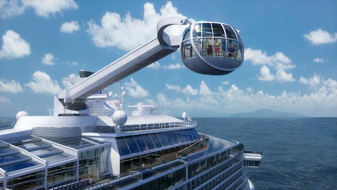 This computer-generated image provided by the Royal Caribbean International cruise line shows its forthcoming ship, Quantum of the Seas. The ship will offer a number of innovative features that are the first-ever for the cruise industry, including The North Star, an observation capsule on a movable arm that will offer a bird's eye view from 300 feet above the water. The ship is expected to launch in November 2014 and will homeport from Bayonne, N.J. (AP Photo/Royal Caribbean International)