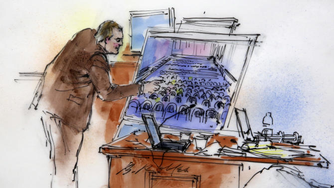This courtroom sketch shows Aurora Police Detective Matthew Ingui pointing to a large photograph of the inside of the Century 16 theater as he testifies at a preliminary hearing for suspected Aurora theater shooter James Holmes at preliminary hearing in district court in Centennial, Colo., on Monday, Jan. 7, 2013. Holmes has been charged in the shooting at the Aurora theater on July 20 that killed twelve people and injured more than 50. (AP Photo/Bill Robles, Pool) TV OUT