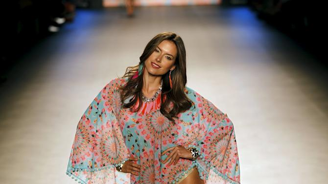 A model wears a creation by brand Luli Fama during Colombiamoda fashion event in Medellin