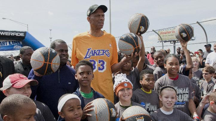 IMAGE DISTRIBUTED FOR POWERADE - NBA legend, Kareem Abdul-Jabbar, prepares to lead 3,000 kids and family members on the one-mile journey down Andrew Young International Boulevard to promote healthy and active lifestyles as part of the Final Four Dribble Fueled by POWERADE, on Sunday April 7, 2013, in Atlanta, Georgia. (Photo by Wilford A. Harewood/Invision for POWERADE/AP Images)