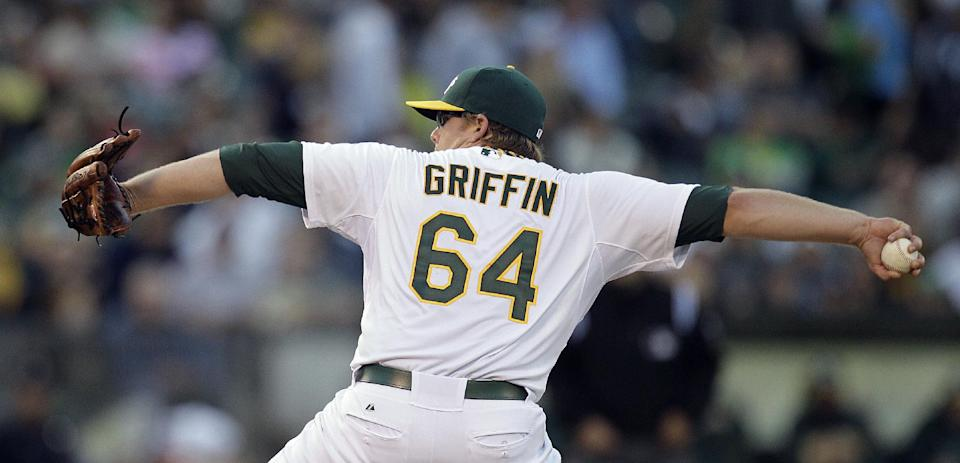 Oakland Athletics' A.J. Griffin works against the New York Yankees in the first inning of a baseball game, Thursday, July 19, 2012, in Oakland, Calif. (AP Photo/Ben Margot)