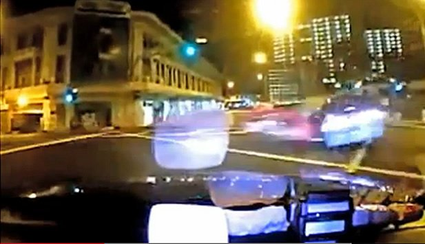 YouTube screencap of the moment Ma Chi&#39;s Ferrari crashed into the taxi.