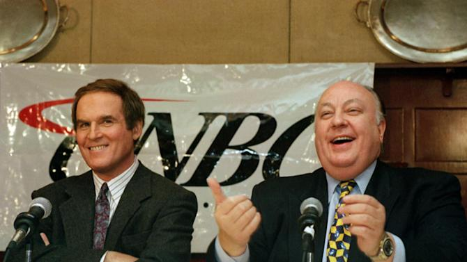 """FILE - In this Nov. 15, 1994 file photo, actor/comedian Charles Grodin, left, and CNBC president Roger Ailes are shown during a news conference announcing Grodin as host of the primetime show """"Charles Grodin,"""" in New York. Former communications guru and CNBC president to Chairman-CEO of Fox News Channel, Ailes' """"fair and balanced"""" branding has targeted viewers who believe the other cable-news networks, and maybe even the media overall, display a liberal tilt from which Fox News delivers them with unvarnished truth.   (AP Photo/Marty Lederhandler)"""