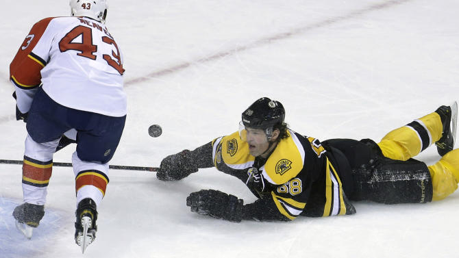 Boston Bruins right wing Jaromir Jagr (68), right, of the Czech Republic, takes to the ice while trying to make a shot on-goal past Florida Panthers defenseman Mike Weaver (43), left, in the second period of an NHL hockey game at the TD Garden in Boston, Sunday, April 21, 2013. (AP Photo/Steven Senne)