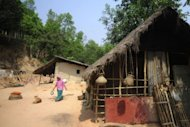 A Patra villager walks past traditional homes in Daliopara, near Dhaka. Bangla, or Bengali, is the undisputed heavyweight in Bangladesh&#39;s linguistic arena, spoken by 95 percent of the population and the sole passport to a decent education and career