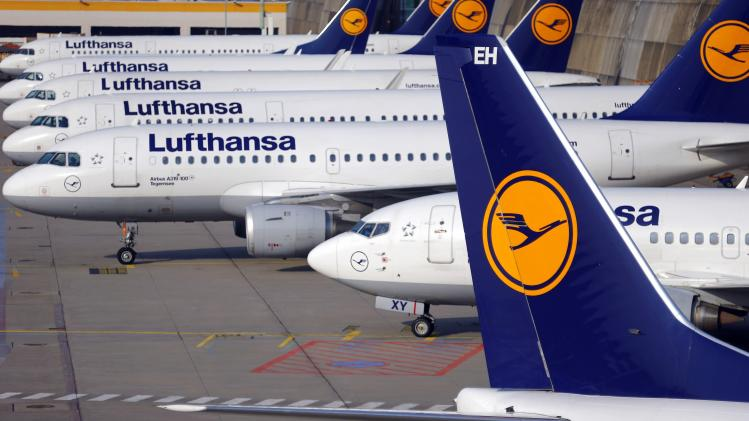 File photo of German airline Lufthansa aircrafts are parked at Fraport airport in Frankfurt