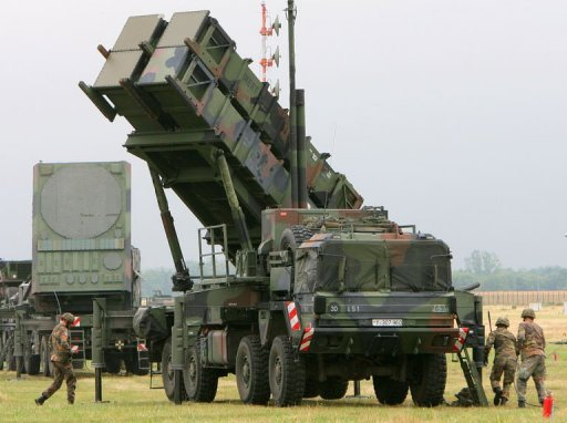 Air Defence Missile Squadron 2 with a Patriot missile launcher during an exercise at training site Warbelow near Gnoien, northern Germany, in 2008. NATO chief Anders Fogh Rasmussen on Wednesday said the alliance would consider &quot;without delay&quot; a request from member Turkey for a deployment of surface-to-air Patriot missiles to protect its troubled border with Syria