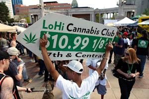 People gather for a 'marijuana rally' at Civic …