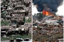 This combination of Associated Press photos shows left, a neighborhood in Moore, Okla., in ruins on Tuesday, May 4, 1999, after a tornado flattened many houses and buildings in central Oklahoma, and right, flattened houses in Moore on Monday, May 20, 2013. Monday's powerful tornado in suburban Oklahoma City loosely followed the path of a killer twister that slammed the region in May 1999. (AP Photo)