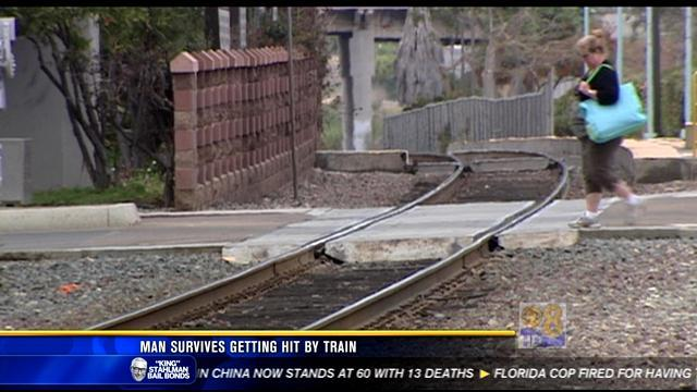 Drunken man hit by passenger train in Carlsbad survives