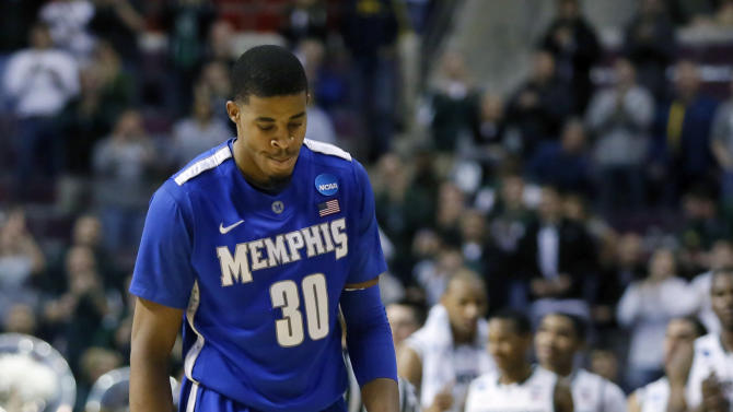 Memphis guard D.J. Stephens (30) walks of the court in the final second of their 70-48 loss to Michigan State in a third-round game of the NCAA college basketball tournament Saturday, March 23, 2013, in Auburn Hills, Mich. (AP Photo/Duane Burleson)