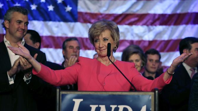 Republican candidate for U.S. Senate Linda McMahon thanks supporters in Stamford, Conn., Tuesday, Nov. 6, 2012. McMahon conceded the race to Democratic opponent Chris Murphy for the Senate seat now held by Joe Lieberman, an independent who's retiring. (AP Photo/Charles Krupa)
