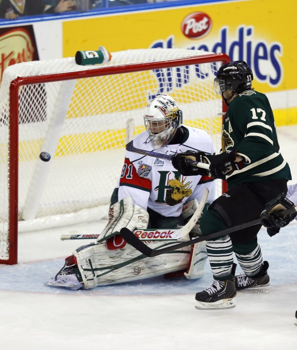 London Knights' Griffith scores on Halifax Mooseheads' Fucale during the Memorial Cup Canadian Junior Hockey Championships in Saskatoon.