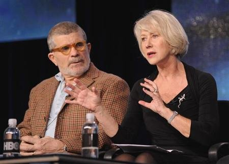 "Writer, director and executive producer David Mamet (L) and British actress Helen Mirren take part in a panel discussion of HBO's ""Phil Spector"" during the 2013 Winter Press Tour for the Television Critics Association in Pasadena, California January 4, 2013. REUTERS/Gus Ruelas"