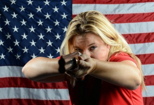 Kim Rhode (shown in a publicity photo) nearly missed her flight to London when her puppy ate her plane ticket