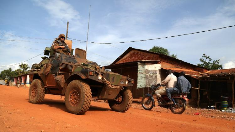 French peacekeepers patrol a street in the town of Bambari