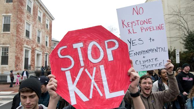 Students protest against the proposed Keystone XL pipeline in Washington, DC on March 2, 2014