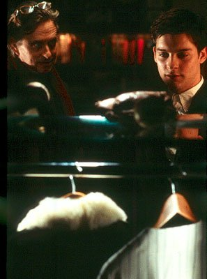 Michael Douglas as Grady Tripp and Tobey Maguire as James Leer in Paramount's Wonder Boys