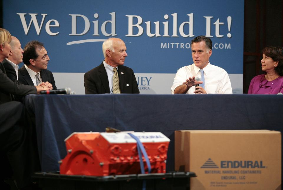 Republican presidential candidate, former Massachusetts Gov. Mitt Romney hosts a small-business roundtable during a campaign stop at Endural LLC, Monday, July 23, 2012, in Costa Mesa, Calif. He is flanked by Beverly Oncology and Imaging CEO Ruth Lopez Novodor, right, and Edural CEO Jim Burra.  (AP Photo/Jason Redmond)