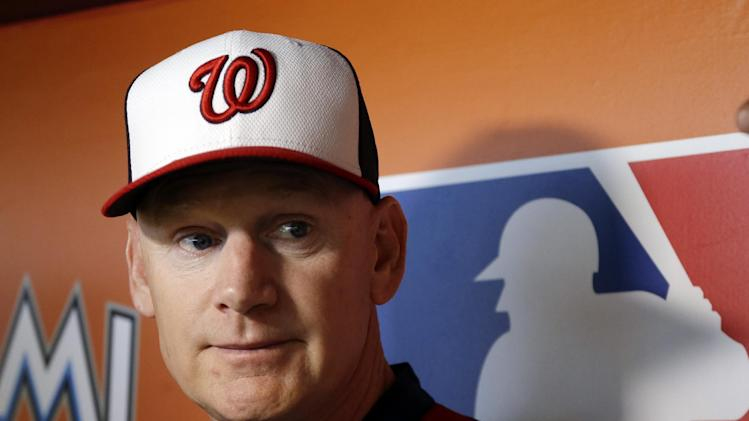 Washington Nationals manager Matt Williams talks withe the news media before a baseball game against the Miami Marlins, Monday, July 28, 2014, in Miami. (AP Photo/Lynne Sladky)