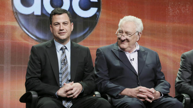 """Jimmy Kimmel, left, and Executive Producer Don Mischer attend the """"64th Primetime Emmy Awards"""" panel at the Disney ABC TCA Day 2 at the Beverly Hilton Hotel on Friday, July 27, 2012, in Beverly Hills, Calif. Kimmel, host of the Emmy Awards in September, and Mischer discussed the ceremony at the Television Critics Association meeting. (Photo by Todd Williamson/Invision/AP)"""