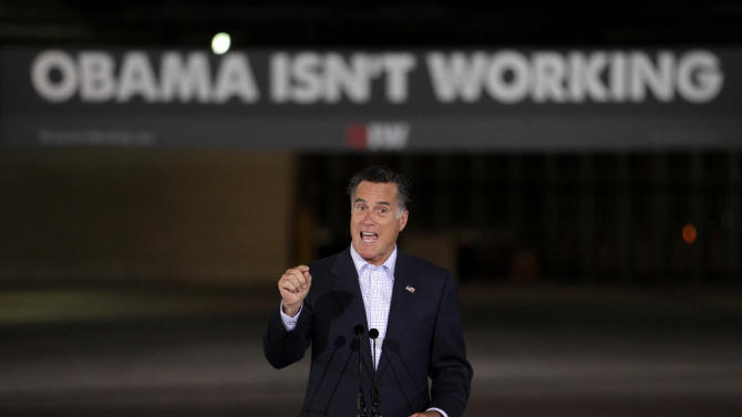 FILE - In this April 19, 2012 file photo, Republican presidential candidate, former Massachusetts Gov. Mitt Romney speaks at the closed National Gypsum drywall factory in Lorain, Ohio. The Democrat still enjoys broad international support, in large part because of unfavorable memories of his Republican predecessor, George W. Bush. But in a world weary of war and economic crises, and concerned about global climate change, the consensus is that President Barack Obama has not lived up to the lofty expectations that surrounded his 2008 election and Nobel Peace Prize a year later. (AP Photo/Jae C. Hong, File)