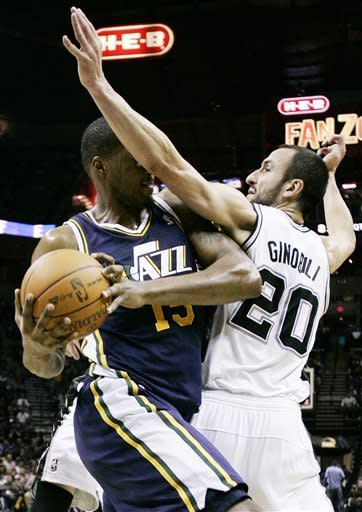Ginobili leads Spurs past Jazz, 104-89