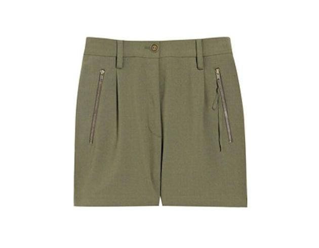 These khaki green shorts with side zippers are a nod to the military trend.  Acne cotton-blend…