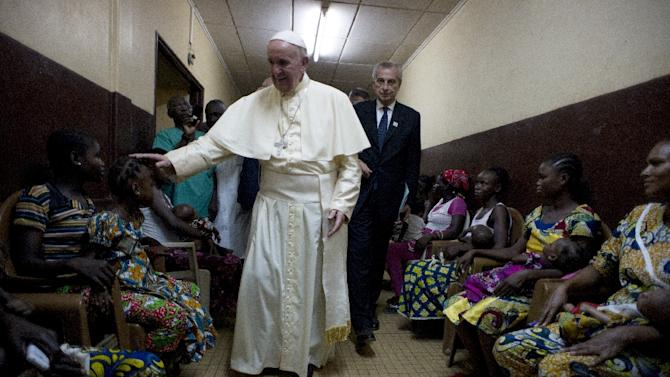 Pope Francis visits a pediatric hospital in Bangui on November 29, 2015 as part of his trip to Africa