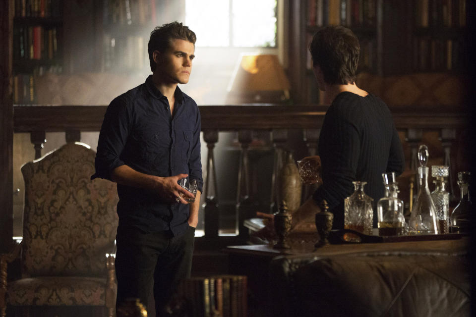 "This undated publicity photo released by The CW shows Paul Wesley, left, as Stefan and Ian Somerhalder as Damon, in a scene from Season 4 of the The CW television show, ""The Originals."" (AP Photo/The CW, Bob Mahoney)"
