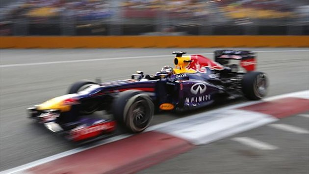 Sebastian Vettel on his way to pole at the Singapore Grand Prix