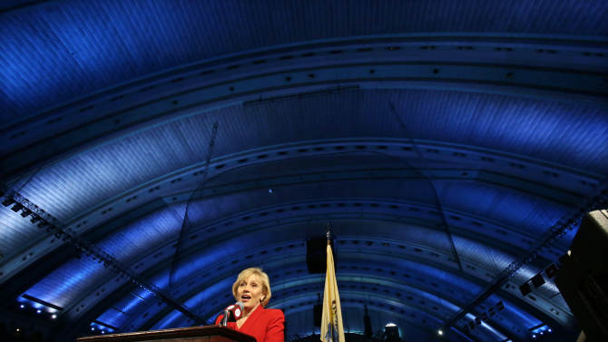 New Jersey Lt. Gov. Kim Guadagno announces at Atlantic City's Boardwalk Hall. Thursday, Feb. 14, 2013, in Atlantic City, that the Miss America pageant is returning to Atlantic City. The pageant returns to Atlantic City in September after spending six years in Las Vegas. (AP Photo/Mel Evans)