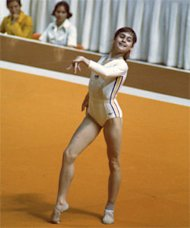 Nadia performs the floor exercise during the 1976 Summer Olympic Games in Montreal. Getty Images.