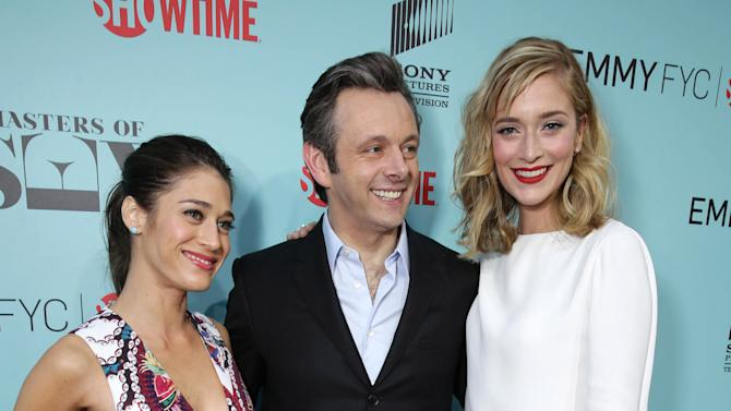 """Lizzy Caplan, Michael Sheen and Caitlin Fitzgerald seen at the Showtime """"Masters of SEX"""" ATAS FYC Panel on Tuesday, May 5, 2015, in Los Angeles. (Photo by Eric Charbonneau/Invision for Showtime/AP Images)"""