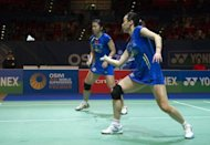 Chinese badminton players take on South Korea during the women&#39;s doubles semi-finals at the All England Open Badminton Championships in March 2012. Badminton&#39;s world body has abandoned plans to force women players to wear skirts, officials said, in the face of fierce opposition which threatened to cause controversy during the Olympics