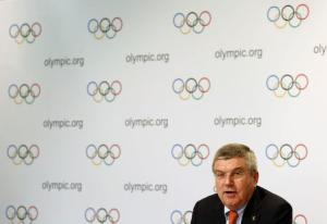 IOC President Bach speaks during a news conference after a three-day executive board meeting in Lausanne
