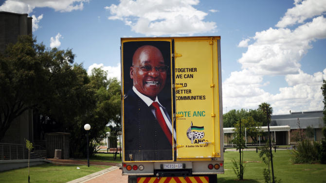 A truck bearing a picture of South African and African National Congress (ANC) president Jacob Zuma is parked outside the venue for the ANC's elective conference at the University of the Free State in Bloemfontein, South Africa, Monday, Dec. 17, 2012. South Africa's African National Congress announced Monday that there would be only two candidates contesting to be the party's president: current President Jacob Zuma and Deputy President Kgalema Motlanthe. (AP Photo/Jerome Delay)