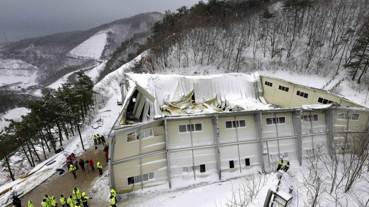 A collapsed resort building is seen in Gyeongju