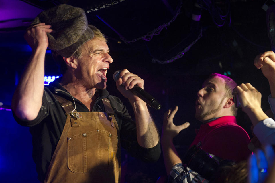 Van Halen member David Lee Roth performs at Cafe Wha? in New York, Thursday, Jan. 5, 2012. (AP Photo/Charles Sykes)