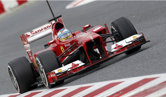 Ferrari's Formula One driver Fernando Alonso of Spain drives during a training session at Circuit de Catalunya racetrack in Montmelo