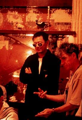 Director Wong Kar-wai and cinematographer Chris Doyle on the set of USA Films' In The Mood For Love