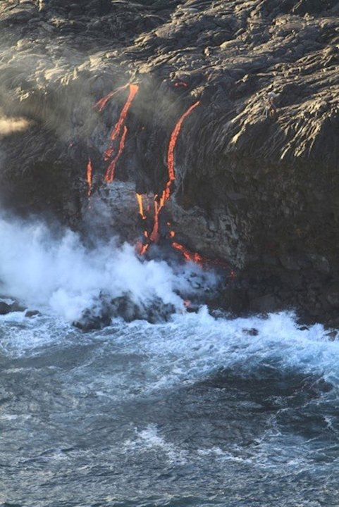 Breathtaking! Watch Fiery Lava Spill into Ocean
