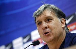 Barcelona's coach Gerardo Martino attends a news conference at Joan Gamper training camp, near Barcelona