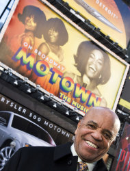 "This March 5, 2013 photo shows Berry Gordy posing for a portrait in Times Square in New York. For Berry Gordy, conquering Broadway is the next - and by his own admission, last - major milestone of a magical, musical career. The 83-year-old Motown Records founder is taking his story and that of his legendary label to the Great White Way. ""Motown: The Musical,"" opens for previews Monday. (Photo by Charles Sykes/Invision/AP)"