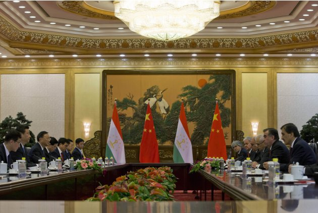 Tajikistan's President Emomali Rahmon and China's President Xi Jinping hold talks in the Great Hall of the People in Beijing