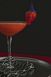 Margarita with Flaming Strawberries
