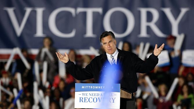 Republican presidential candidate, former Massachusetts Gov. Mitt Romney speaks during a campaign event at Ida Lee Park Wednesday, Oct. 17, 2012, in Leesburg, Va. (AP Photo/Alex Brandon)